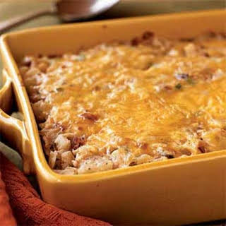 Hash Brown Casserole with Bacon, Onions, and Cheese.