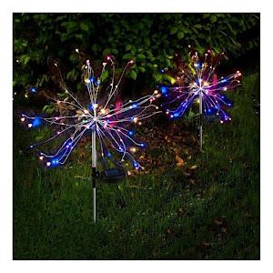 Lampa solara artificii cu suport metalic, 120 LED, multicolor