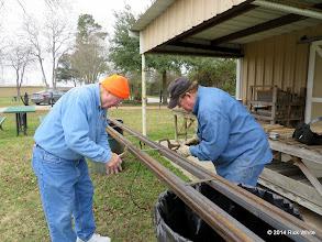 Photo: Pete Greene and Bill Howe getting ready to weld engine barn rail together.   2014-0104 RPW