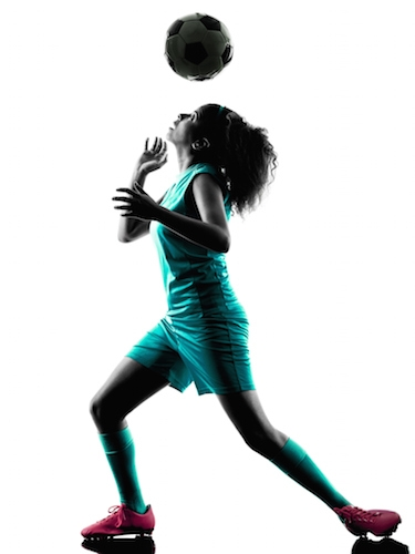 Image of soccer player heading ball