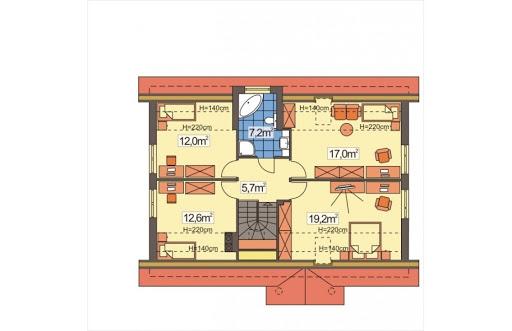 Ala II wersja A z pojedyńczym garażem - Rzut poddasza