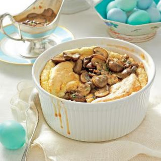 Cheese Grits Soufflé with Mushroom Gravy