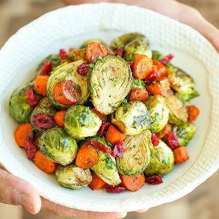 Balsamic Roasted Brussels Sprouts and Carrots.