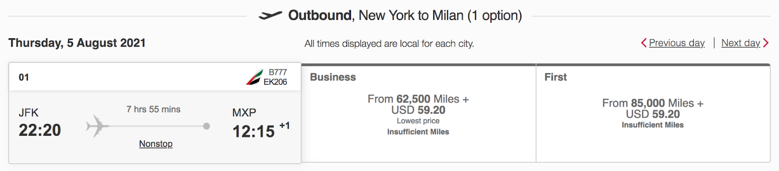 Outbound flight from New York to Milan