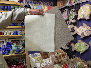Photo: I found felted flax and wool in one of the shops.  It was very pricey and I didn't buy any.