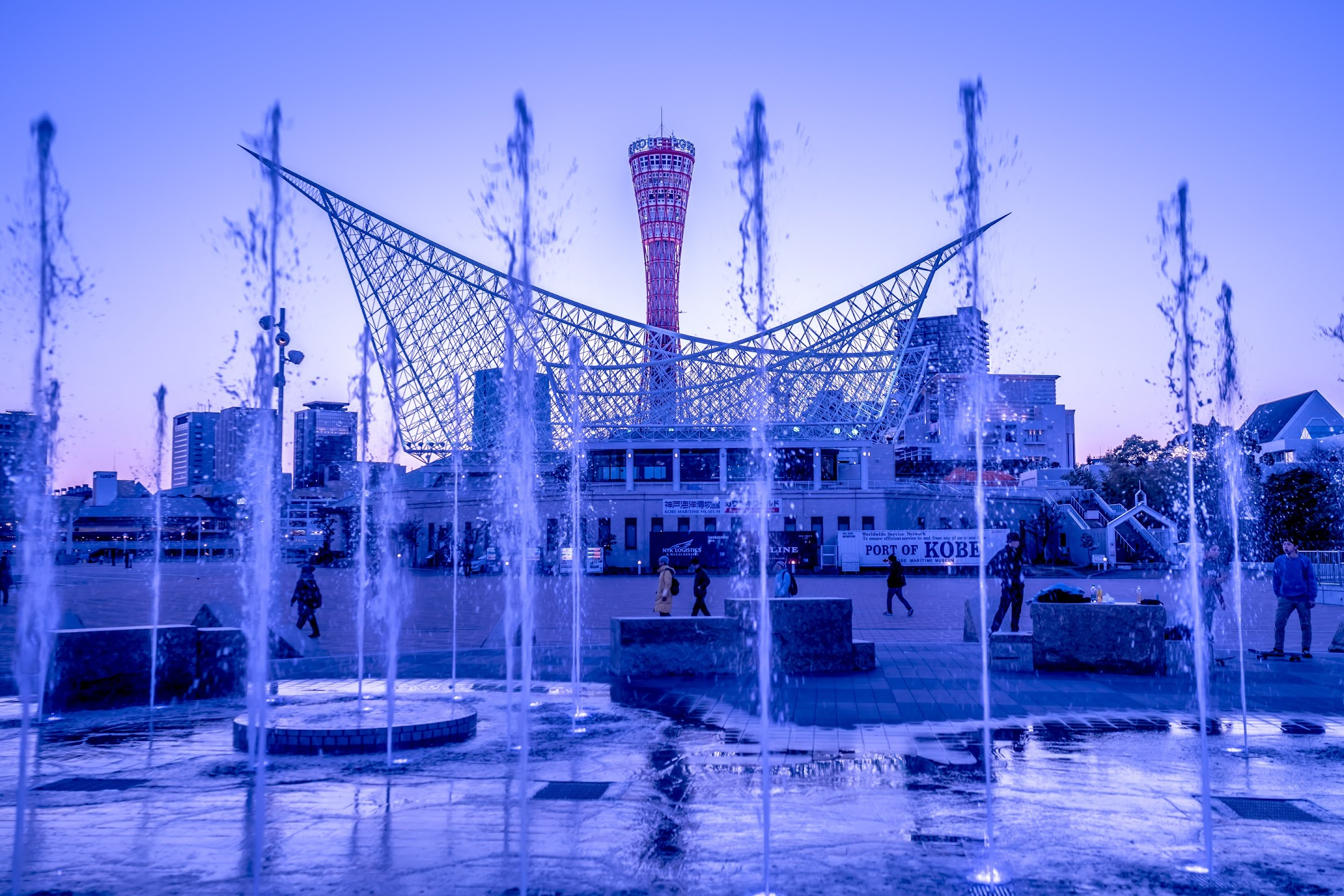 Kobe Meriken Park Fountain Square light-up