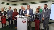 Rueda de prensa de esta mañana en la sede del PSOE.