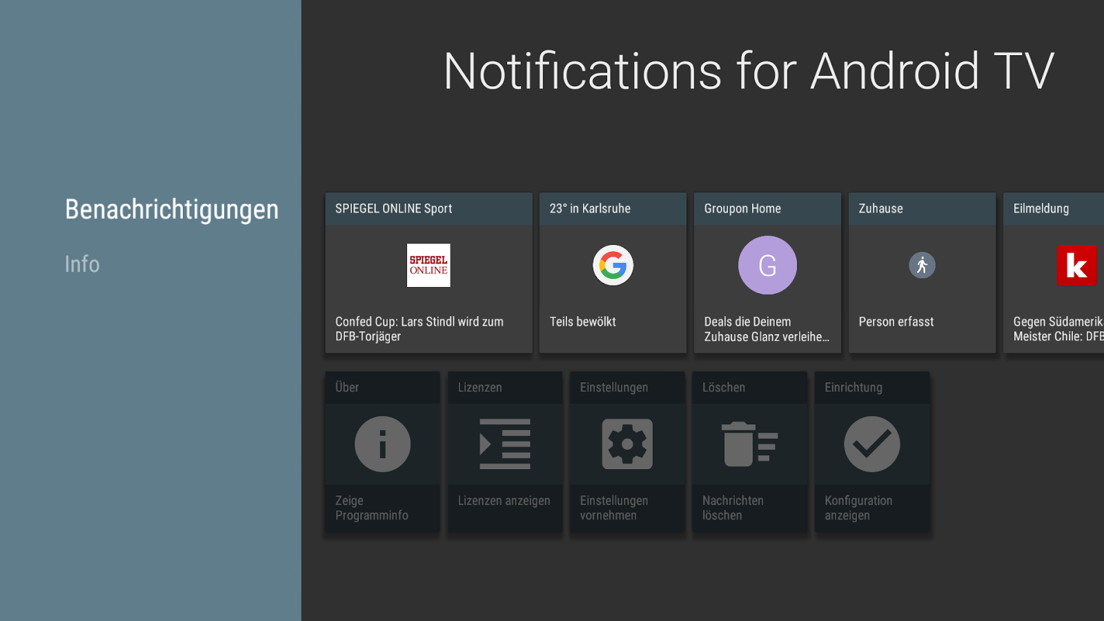 Notifications for Android TV- screenshot