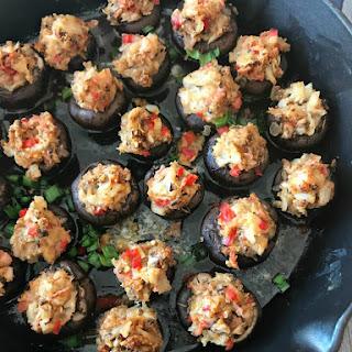 Surimi Seafood Stuffed Mushrooms.