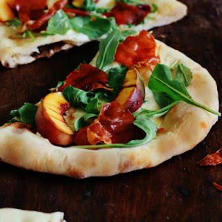 Grilled Peach Pizza + Mascarpone + Prosciutto + Apple Cider Reduction
