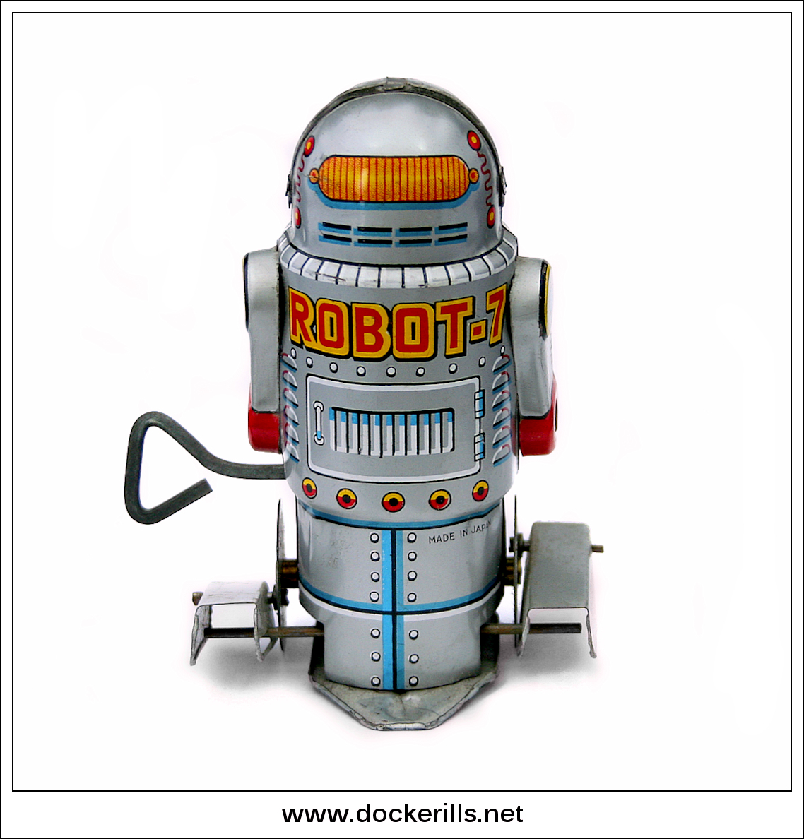 "Photo: Yoneya ""Robot-7"", Japan. (Picture 2 of 2) See also Noguchi.  Tinplate / W/U / Fixed key. Paddle foot robot.  Visit my blog - Collecting Tin Toys at  http://tinplatetoys.blogspot.co.uk/"