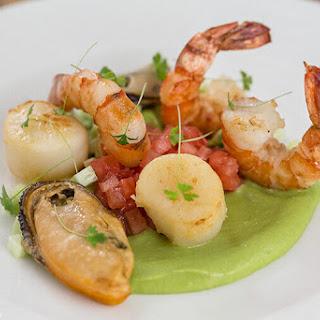 Seafood Salad with Avocado and Wasabi Sauce