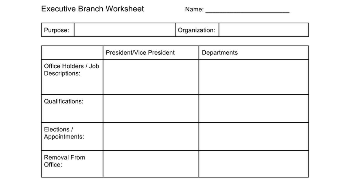 Executive Branch Worksheet Google Docs