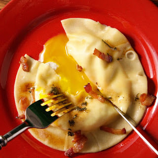 Egg Yolk Ravioli (Uova Da Raviolo) with Bacon-Sage Sauce Recipe