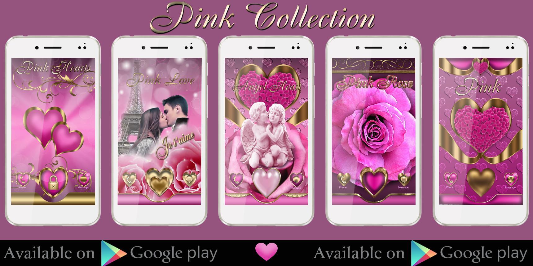 Google theme rose - Pink Love Go Launcher Theme Screenshot