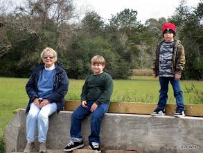 Photo: Monterey White (Grandma) with Logan and Michael on the Phase IV east bridge abutment.   2009-1127 HALS Anniversary Meet