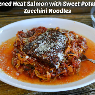 Salmon with Sweet Potato and Zucchini Noodles.