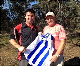 Photo: Swannie, John MacFarlane meets Official AFL Legend, Barry Cable. Perth, September 2012