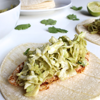 Chili-Dusted Fish Tacos with Avocado Slaw.
