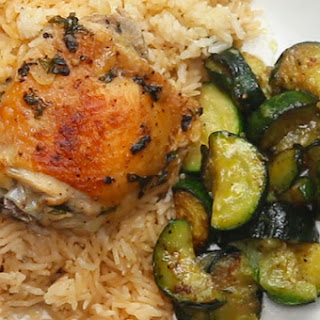 Garlic Herb Chicken And Rice Bake.