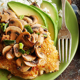 Pounded Almond Chicken with Mushroom-Tequila Sauce.