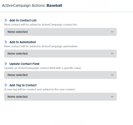 ActiveCampaign action choices