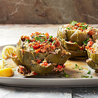 Stuffed Artichokes with Spicy Italian Sausage and Sweet Red Pepper.