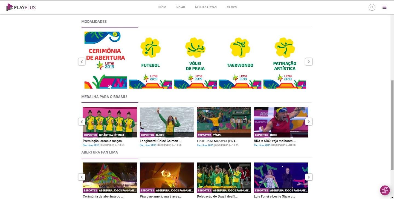 Canal dos Jogos Pan -Americanos de Lima  no PlayPlus