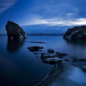 Blues by Bragi Ingibergsson - Backgrounds Nature ( water, iceland, brin, blue, bragi j. ingibergsson, lake, landscape, rocks,  )