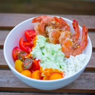 Spicy Shrimp + Guacamole on Rice