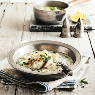 Leek And Fennel Soup With Poached Haddock