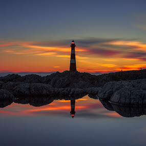 The Lighthouse by Rune Askeland - Landscapes Waterscapes ( sunset, lighthouse, reflections, hellisøy, norge, norway, fedje )