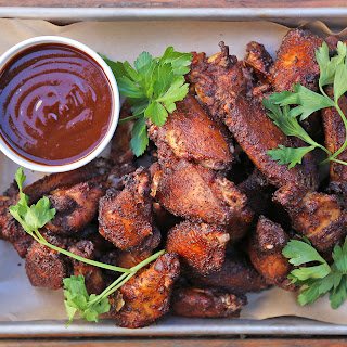 Smoked Wings with Barbecue Sauce.