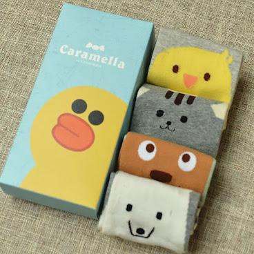 一盒四對卡通純棉襪