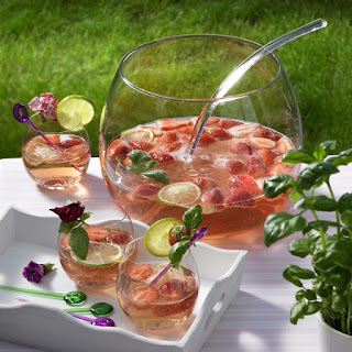 Sparkling Rosé Punch with Strawberries and Basil.