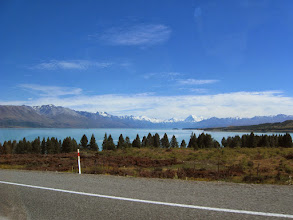Photo: First view of Aoraki/Mt. Cook looking north up Lake Pukaki