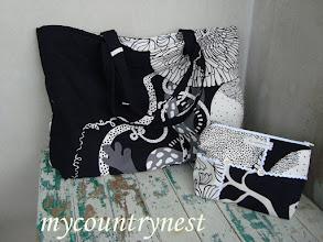 Photo: beach bag con pohette coordinata