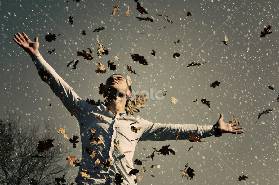 feeling autwinter freedom by Adrian  Limani - People Portraits of Men ( winter, freedom, autumn, men, pwcfallleaves-dq, man, leaf, fall, leaves )