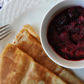 Crepes With Blackberry-Rhubarb Compote.