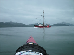 Photo: A fishing boat passing in Marcus Passage.
