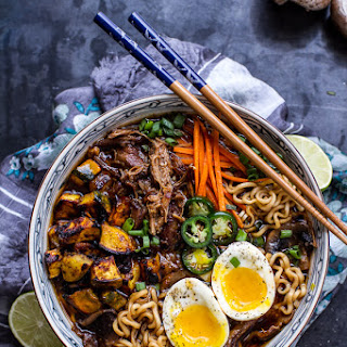Crockpot Caramelized Pork Ramen Noodle Soup w/Curry Roasted Acorn Squash..