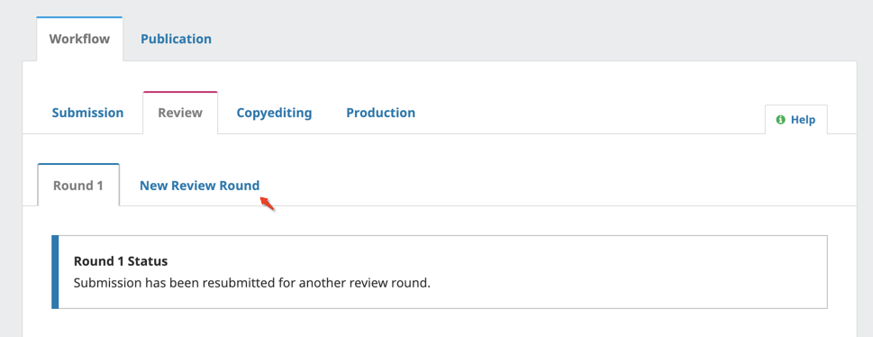 The New Review Round button in the Review panel