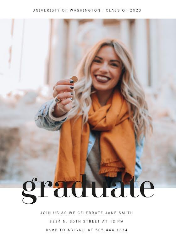 Jane's Graduation Party - Graduation Announcement Template