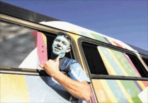 FANATIC: A Blue Bulls supporter on his way to Orlando Stadium in Soweto on Saturday for the semifinal against Crusaders. Pic. Veli Nhlapo. 23/05/2010. © Sowetan.