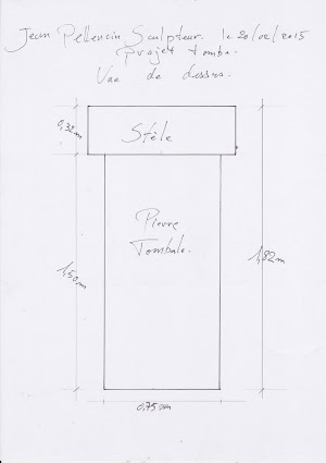 Dessin en plan du projet de tombe personnalisée sculptée en pierre