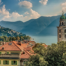 Lugano by Ole Steffensen - City,  Street & Park  Vistas ( suisse, ticino, city, switzerland, church, lugano, schweiz, montains, vista, lake )