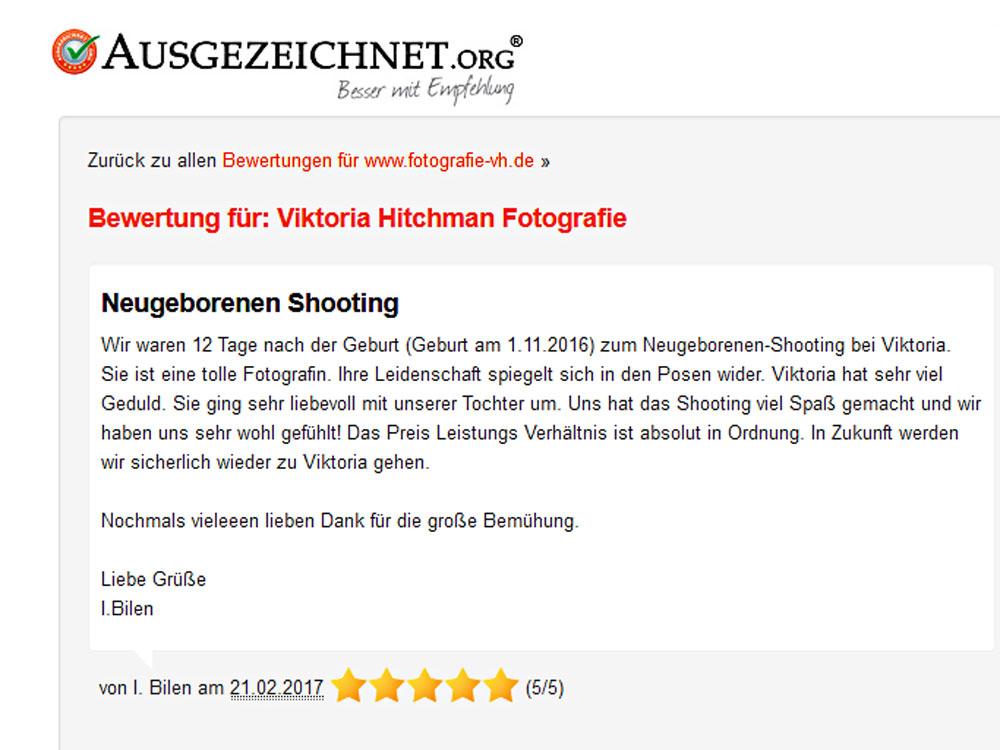 Eine Bewertung für Viktoria Hitchman Fotografie in Heidelberg.