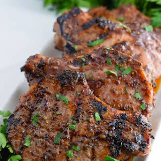 Grilled Sweet and Spicy Mustard Pork Chops.