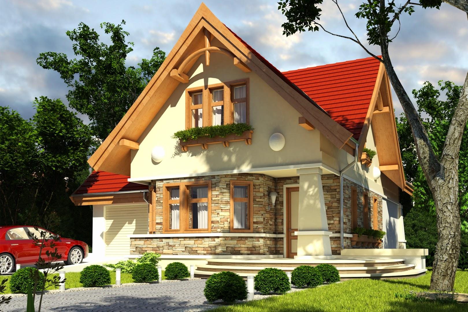 Projekt domu kowalik z gara em 1 st a tsn 715 for Design exterior fatade case