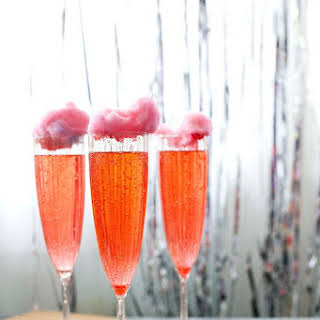 Cotton Candy Cherry Lime Champagne Cocktail.
